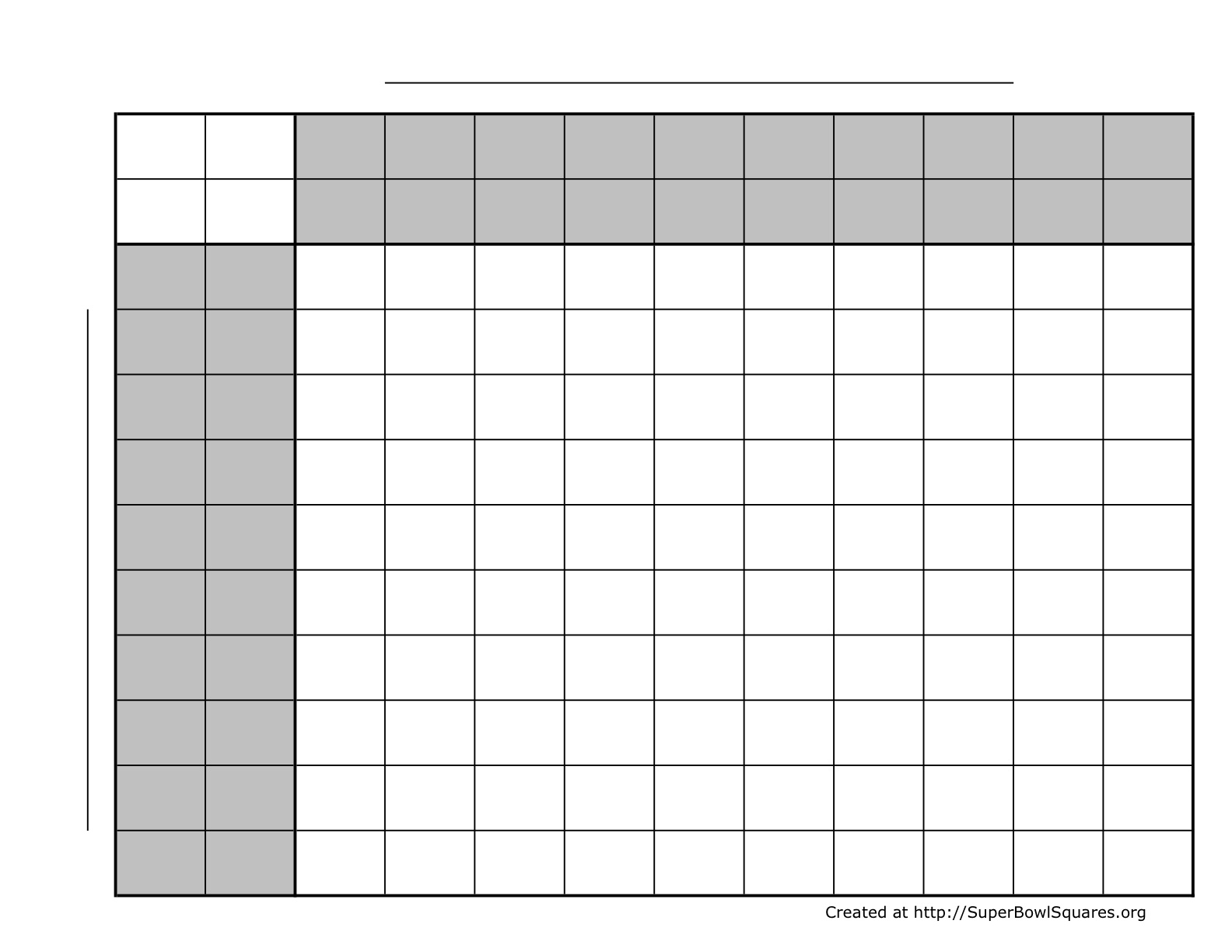 Use a 5 by 5 grid, where each square has two numbers for each team
