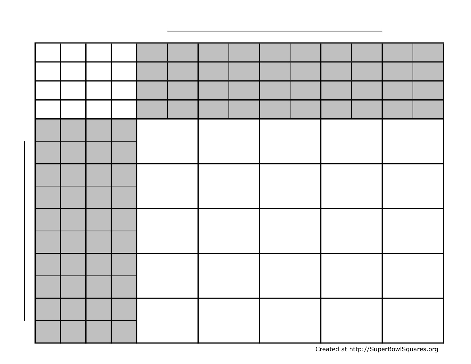 5 x 5 Football Squares (25 Squares) with 4 sets of numbers